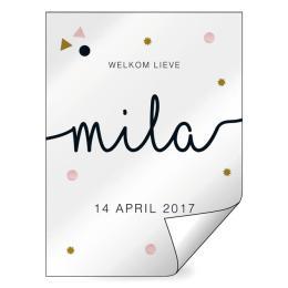 Geboorte raamsticker Mila